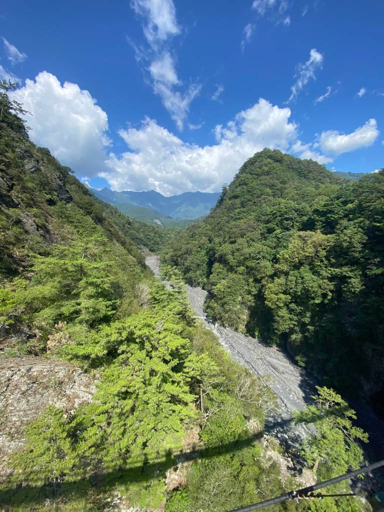 Enjoying the mountain and river views from the Aowanda Suspension Bridge in Central Taiwan.
